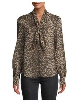 Cleobelle Leopard Print Tie Neck Blouse by Paige
