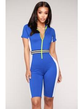 Accelerator Colorblock Romper   Royal by Fashion Nova