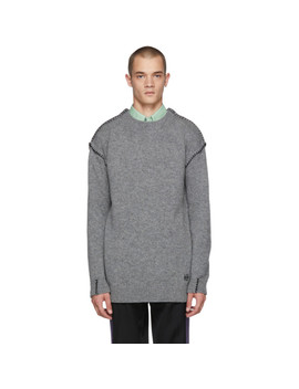 Grey Blanket Stitch Sweater by Loewe
