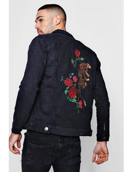 Washed Black Denim Jacket With Tiger Embroidery by Boohoo