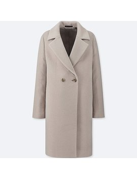 Women Lightweight Wool Blend Tailored Coat by Uniqlo