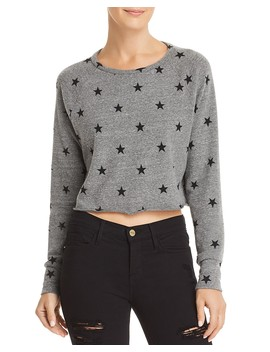 Brushed Cropped Star Print Sweatshirt by Lna