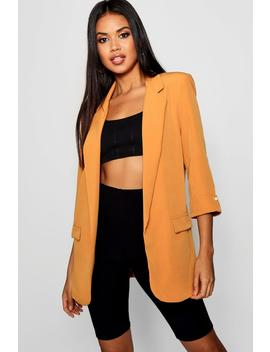 Pearl Turn Back Cuff Longline Blazer by Boohoo