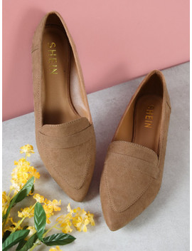 Vegan Suede Pointy Toe Flat Loafer Shoes by Sheinside