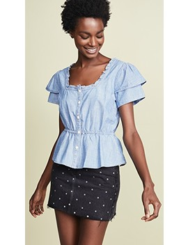 Denim Ruffle Sleeve Peplum Top by Madewell