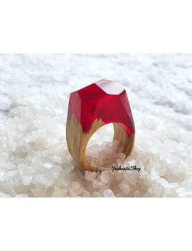 Wood Resin Ring Wooden Rings Red Nature Ring Wood Ring Wooden Ring Resin Ring Beauty Gift Wooden Ring Holiday Gifts Rings For Women by Yevheniia Shop