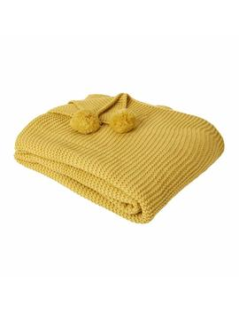 Dreamscene Chunky Knit Throw, Mustard, Mustard Ochre Yellow, Large 150 X 180 Cm by Amazon