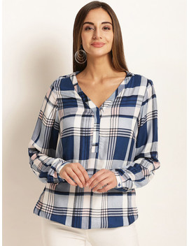Rare Women Blue & White Regular Fit Checked Casual Shirt by Rare