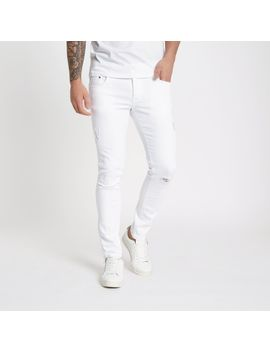 White Eddy Ripped Knee Skinny Jeans by River Island