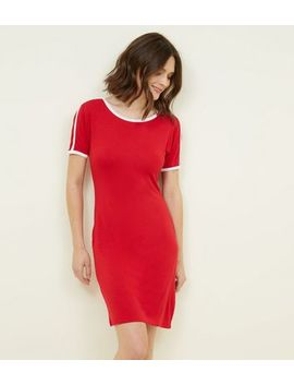 Pink Vanilla Red Contrast Trim Bodycon Dress by New Look