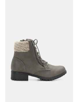 Faux Leather Combat Boots by Ardene