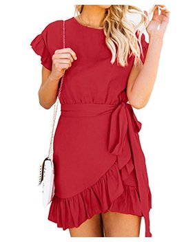 Womens Ruffle Short Sleeves A Line Summer Mini Dresses With Belt by Bigyonger