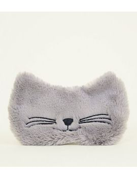 Grey Fluffy Cat Eye Mask by New Look