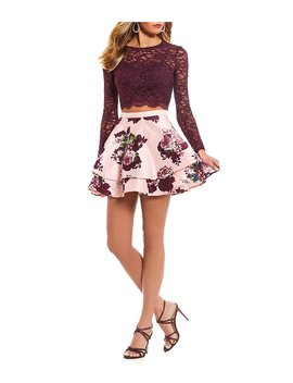 Long Sleeve Lace Top With Floral Skirt Two Piece Dress by Generic