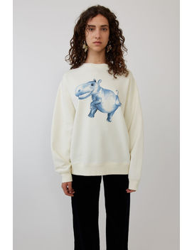 Hippo Print Sweatshirt Ivory White by Acne Studios