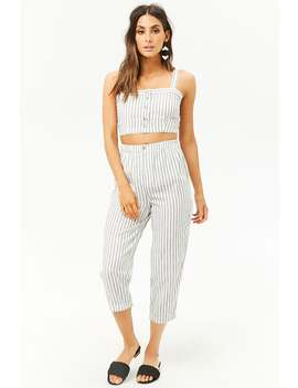 Striped Linen Blend Ankle Pants by Forever 21
