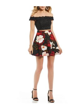 Off The Shoulder Foral Two Piece Dress by Generic