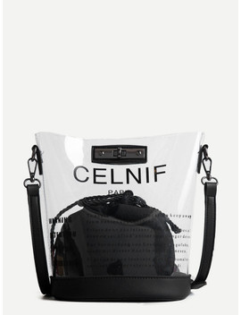 Slogan Print Bag With Inner Pouch by Sheinside