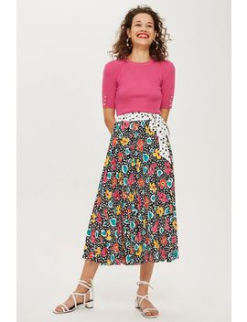 Mixed Floral Pleat Midi Skirt by Topshop