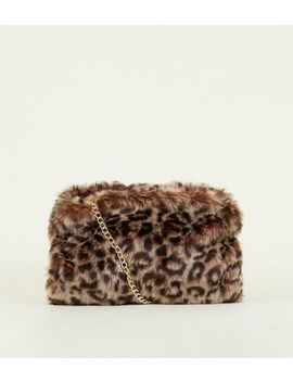 Brown Leopard Faux Fur Hand Warmer Bag by New Look