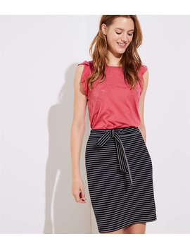 Petite Striped Tie Waist Pencil Skirt by Loft