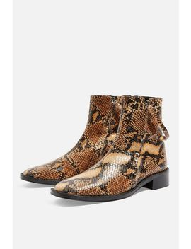 Aubrey Snake Flat Leather Boots by Topshop