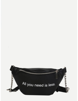 Slogan Print Ring Detail Bum Bag by Sheinside