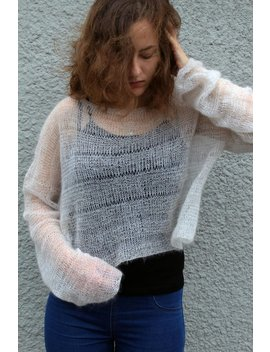 Loose Knit Sweater Oversized Jumper Web Mohair Sweater Bohemian Clothing Wedding Pullover Grunge Crop Top Long Sleeves Sweater Made To Order by Easyloopknitting
