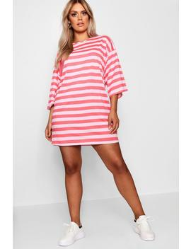 Plus Scoop Neck Striped T Shirt Dress by Boohoo