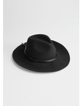 Leather Ribbon Wool Fedora by & Other Stories