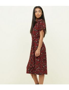 Petite Burgundy Camo Print Midi Shirt Dress by New Look