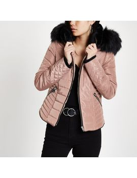Pink Faux Fur Hood Satin Puffer Jacket by River Island