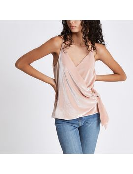 Pink Velvet Knot Side Cami Top by River Island