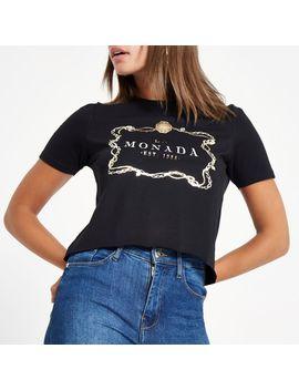 Black 'la Monada' Print T Shirt by River Island
