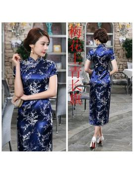 Traditional Chinese Women's Silk Satin Long Dress Cheongsam Qipao Sz S 6 Xl Blue2 by Unbranded