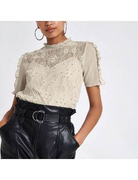 Grey Lace Beaded High Neck Top by River Island
