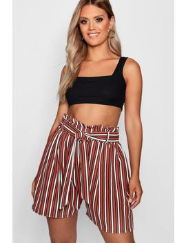 plus-tan-stripe-paperbag-waist-tailored-shorts by boohoo