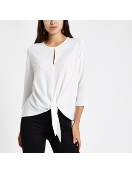White Front Long Sleeve Top by River Island
