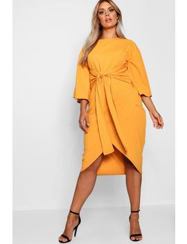 Kimono Sleeve Wrap Over Midi Dress by Boohoo