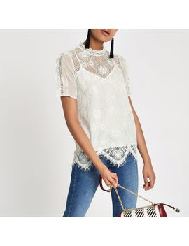 White Lace Beaded High Neck Top by River Island