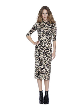Delora Fitted Mock Neck Midi Dress by Alice And Olivia