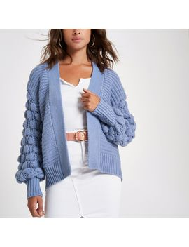 Blue Bobble Heart Knit Cardigan by River Island