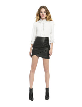 Mira Embellished Boxy Ruffle Blouse by Alice And Olivia