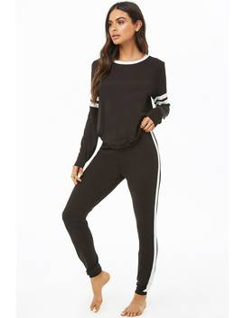 Striped Trim Top & Joggers Pj Set by Forever 21