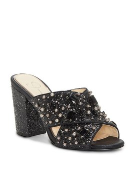 Rizell Glitter Jeweled Pearl Embellishment Block Heel Slide Sandals by Generic