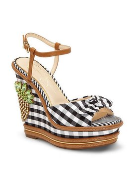 Azeena Crystal Pineapple Embellished Gingham Wedges by Generic