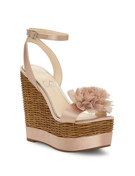 Pressa Chiffon Flower Detail Wedge Sandals by Generic