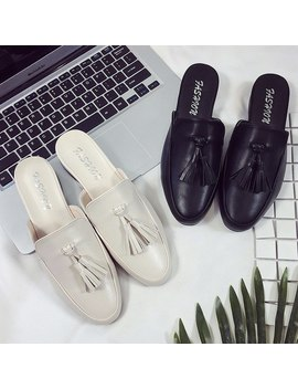 Pu Black Women Shoes Outdoor 2018 Summer Spring Pink Slippers Ladies Fashions Luxury Footwear Mules Designer Loafer Female House by Han Du E Ke