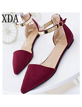 Xda 2018 New Fashion Style Women Suede Flat Single Shoes Roman Sweet Pointed Toe Flats Single Shoes Free Shipping F183  by Xda
