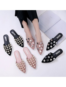 Women Flats Fashion Summer Pearls Sequins Mules Female Half Slippers Pointed Toe Shoes Flat Sandals Suede Slides Hollow Out Home by Tian Mo Zy